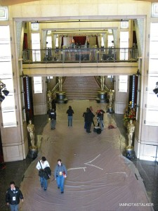 Workers setting up the Oscar's Red Carpet