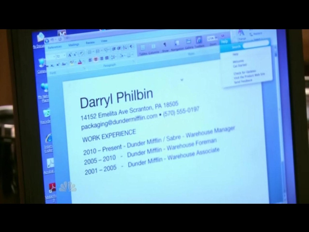 Interestingly enough, in the Season 7 episode of The Office titled Search  Committee, Darryl is shown typing up his resume, on which his home address  is ...