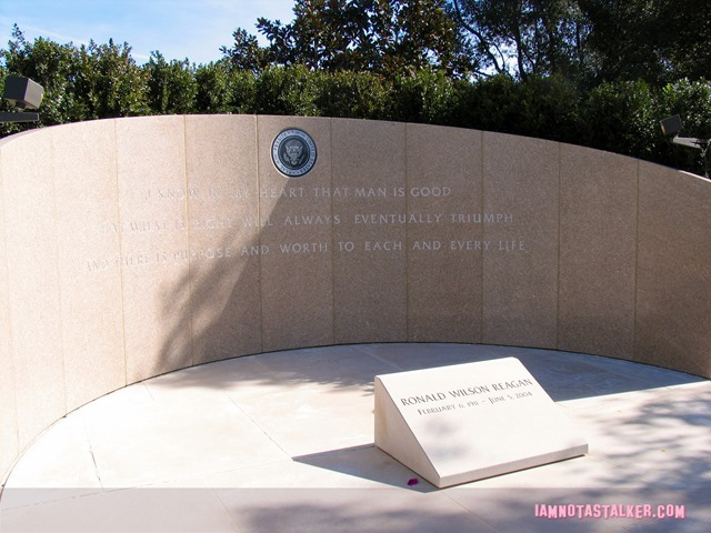 This is where regan is burried. The stone reads ?I know in my heart that man is good, that what is right will always eventually triumph and there is purpose and worth to each and every life.?